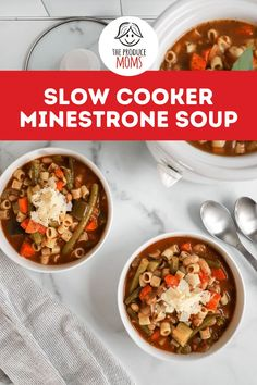 This traditional soup is brimming with tasty veggies and soul food flavor. Fill up with this easy Slow Cooker Minestrone Soup recipe. Carrot Recipes, Onion Recipes, Soup Recipes, Dinner Recipes, Healthy Recipes, Italian Soup, Soul Food, Slow Cooker Recipes, Veggies