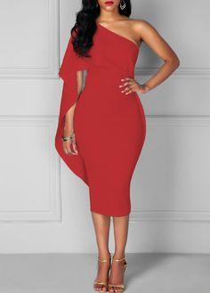 Red Batwing Sleeve One Shoulder Sheath Dress on sale only US$34.90 now, buy cheap Red Batwing Sleeve One Shoulder Sheath Dress at liligal.com