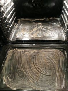 non-toxic oven cleaner. Dawn, vinegar, baking soda, lemon juice. Smear paste all over inside of oven, including glass door, and let it sit for several hours. Scrub baked on spots then wipe clean.