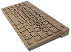 Portable wireless keyboard handcrafted from single piece of solid premium wood. Compatible with all Mac computers, iPads and any Windows device equipped with Bluetooth.
