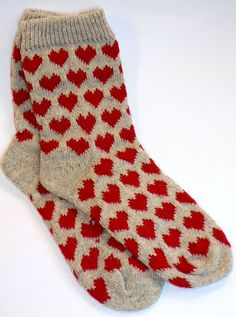 Knitting - Heart knit socks - inspiration, no pattern