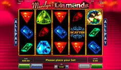 Marilyn's Diamonds game consists of 5 reels, but no common pay lines are used in the game. Instead, Novomatic provide this game with the special feature.The winning symbols will disappear from the reels and their cells will be replaced by the new symbols. Icons and special symbols of this game are represented by beautiful diamonds.
