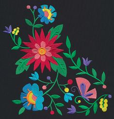 Las Flores - Yoke | Urban Threads: Unique and Awesome Embroidery Designs