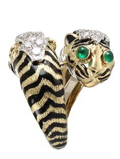 DAVID WEBB Double tiger ring make one head's eyes cobalt blue and the other's gold and this would be perfect!