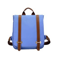 Blue Box Backpack with Buckle Belt Detail and Oversized Flap Front ($108) ❤ liked on Polyvore
