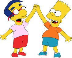 Bart and Milhouse Hi Five by on DeviantArt Bart And Lisa Simpson, Homer Simpson, Simpsons Drawings, Simpsons Art, The Simpsons Tv Show, Family Guy Episodes, Whimsical Tattoos, Wallpaper Gratis, Hi Five