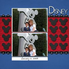 Disney Scrapbook - great layout with the Mickey heads & background magical paper