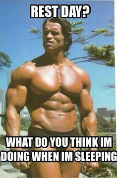 """""""Rest day? What do you think I'm doing when I'm sleeping?"""" #FitnessFunnies #HitItHard #TBCWoodbury"""