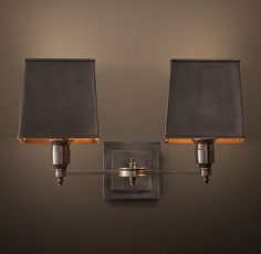 "CLARIDGE DOUBLE SCONCE - BRONZE WITH METAL SHADE $379   Special $300 Elegant hotels and other well-dressed venues illuminate their spaces with lighting based on traditional lamps. Our sconce reflects this sensibility, with all-brass construction and thoroughly classic design.  Show product details... DIMENSIONS 12½""W x 7½""D x 6½""H"