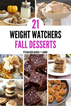 Easy Weight Watchers Dessert Recipe Ideas Perfect For Fall Cure your craving for sweets. Sharing 21 delicoius and easy Weight Watchers dessert recipes that are perfect for fall and only 4 points or less! Fall Dessert Recipes, Ww Desserts, Fall Desserts, Healthy Desserts, Fall Recipes, Dinner Recipes, Light Desserts, Healthy Recipes, Healthy Breakfasts