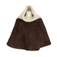 HERMES poncho short plush SHEARLING chocolate SM | From a collection of rare vintage coats and outerwear at http://www.1stdibs.com/fashion/clothing/coats-outerwear/