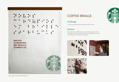 Starbucks Coffee Braille with coffee beans