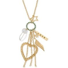 GUESS Gold-Tone Multi-Charm and Charm Love Pendant Necklace