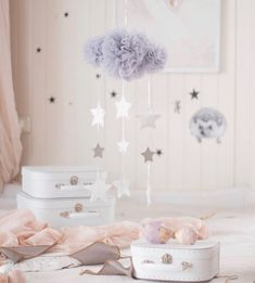 Beautiful Grey Tulle Cloud Baby Mobile perfect for a gender neutral nursery