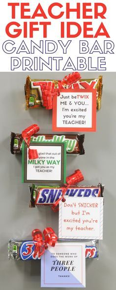 Teacher Gift Idea Candy Bar Printable