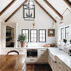Looooove this.  Love wood with white and love the black windows!!!!!