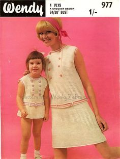 Wander through WonkyZebra's Vintage Pattern Land, and make something new from something old. Crochet, knitting and sewing patterns that still work! New PDF versions of vintage patterns; Mother Daughter Outfits, Mom Daughter, Mommy And Me Dresses, Crochet Clothes, Crochet Dresses, Vintage Sweaters, Knitting Patterns, Sweater Patterns, Crochet Patterns