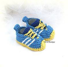 Boy Sneakers,New Born Shoes,Blue,White,Yellow,Crochet Shoes,Baby Shoes,Running Shoes,Baby Shower Gift,Gift for Baby,Christening,Booties