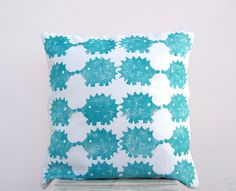Nursery pillow - hedgehogs print in teal turquoise on white organic cotton pillow cover, woodland nursery decor. $38.00, via Etsy.
