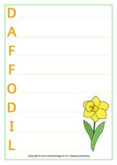 Daffodil acrostic poem printables
