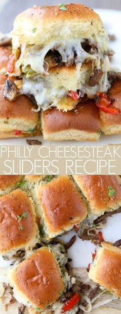 Recipe for homemade Philly cheesesteak sliders with steak, peppers, onions, cheese, and mushrooms in sliders. #sliders #phillycheese #cheesesteak #phillycheesesteak