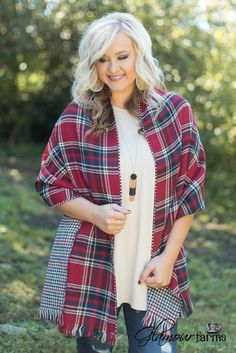 Alistaire Reversible Plaid Scarf - Red