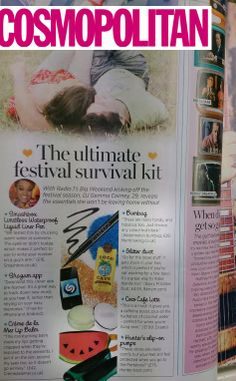 "Our Watermelon Bumbag is included in their Ultimate Festival Survival Kit. ""With Big Weekend kicking off the festival season, DJ Gemma Cairney reveals the essentials she won't be leaving home without"" Cosmopolitan Magazine, Leaving Home, Survival Kit, Watermelon, Dj, Kicks, Essentials, Seasons, Survival Kits"