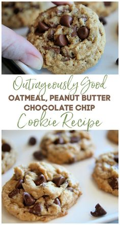 Peanut Butter Oatmeal Chocolate Chip Cookies Recipe (Outrageously Delicious + Secret Tips!) - The Best Cake Mix Cookie Recipes, Best Cookie Recipes, Yummy Cookies, Pumpkin Chocolate Chip Muffins, Butter Chocolate Chip Cookies, Chocolate Cake, Chocolate Chips, Chocolate Quotes, Peanut Butter Chips