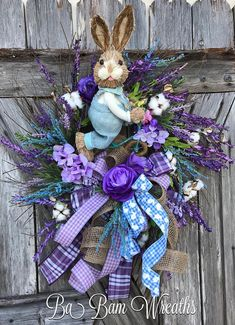 Spring Wreath, Spring Decor, Spring Door, Bunny Wreath, Bunny Swag, Bunny Decor, Easter Wreath, Easter Swag, Easter Decor Bunny on a bike~ hes a delightful sight~ everybody will SMILE and giggle for a while. Made wild & outside the box thinking~ you will love this if you like to be a