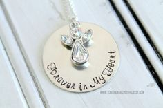Angel Memorial Forever in my Heart Necklace by youregonnalovethis