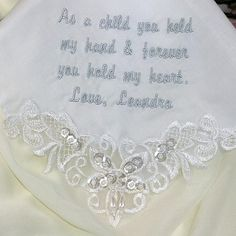 Mother of the Groom Wedding Handkerchief by CoutureWeddingHankie. Embellished with pearls and sequins