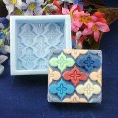 Square Floral Soap Mold Soap Mould Silicon Mold by soapmoldiy