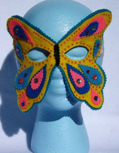 Butterfly Mask Spring Child Butterfly Face Mask  Yellow by LockNessieCreations, $10.00