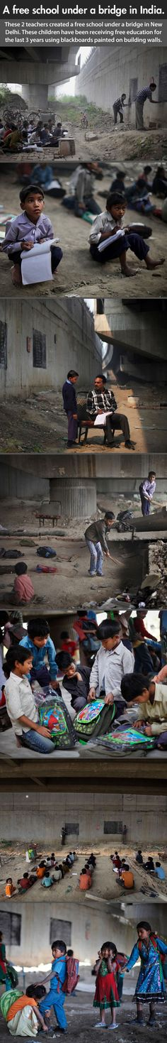 A free school under a bridge in India. The world needs more people like them…