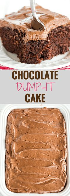 Chocolate Dump-It Cake: An old-fashioned recipe for chocolate cake mixed in one pot, topped with a tangy cream cheese-chocolate frosting.