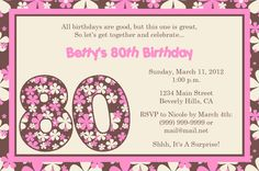 80th Birthday Invitations Wording