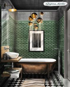 """Home Decoration Living Room Photos Comments "" Interior Design Renderings, Interior Sketch, Bad Inspiration, Bathroom Inspiration, Dream Home Design, House Design, Art Deco Bathroom, Bathroom Renos, Beautiful Bathrooms"