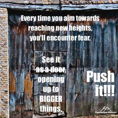 Every time you aim towards reaching new heights, you'll encounter fear. See it as a door, opening up to BIGGER things. Push it!!! Frederique Murphy