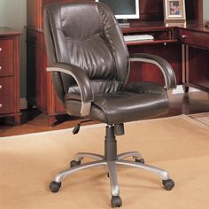 Brown Faux Leather Office Chair by Coaster $260