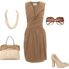 Creamy mocha dress. Very classy. Neutral work outfit