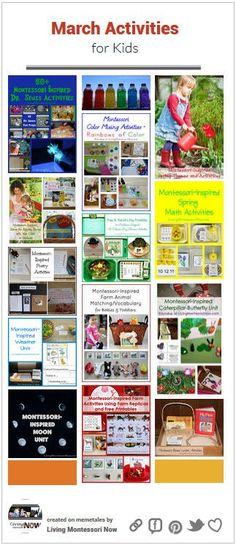 Calendar observances plus Montessori-inspired unit studies and seasonal and holiday activities for kids throughout March