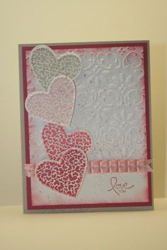 Hearts on vintage embossed paper