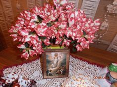 In Russia, it is a tradition to have flowers and an Icon for Pascha.