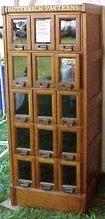 Butterick Pattern Cabinet, 15 Glass Front Drawers, BRASS LANTERN ANTIQUES