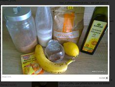BABOVKA BEZ VAJEC :banán,3lžíce poml.lněné semínko,sklenička mlíka,skl. oleje,skl. třinového cukru,pul citronu3skl.celozrn.mouky, kypř.prášek-umixovat a pect ve formě