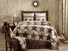 Make your room over with our Abilene Star Twin Quilt! It's so adorable with it's star quilted pattern. https://www.primitivestarquiltshop.com/products/abilene-star-twin-quilt #primitivecountrybedroomsbeddingandaccessories