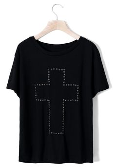 Cross Studded T-shirt in Black