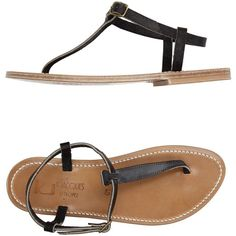 57606fc0e393 K. Jacques St. Tropez Thong Sandal ( 161) ❤ liked on Polyvore featuring  shoes, sandals, black, thong sandals, leather buckle sandals, leather sole  sandals, ...