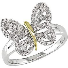 Cute Diamond Butterfly Ring