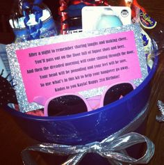 """Idea: Hangover kit 21st birthday gift idea. I made one and used this poem, I made my own card in Photoshop and made a list of the items included on the card. I put a few gag items in it, like a pregnancy test (for a guy) """"for the potential one night stand- just in case,"""" lol."""